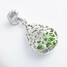 Fashion Korean jewelry Lovely Womens Green CZ Pendant sterling silver Plated