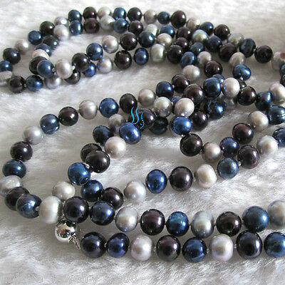 "50"" 5-7mm Gray Navy Black Multi Color Freshwater Pearl Necklace Jewelry"
