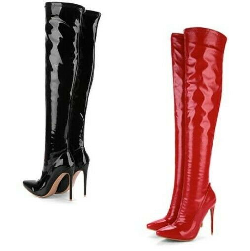 Sexy Womens Patent Leather Over The Knee Thigh High Boots Stilettos Heels shoes