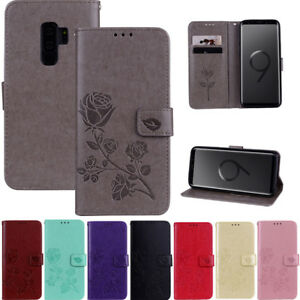 Wallet-Flip-Leather-Rose-Case-Cover-For-Samsung-Galaxy-S9-A3-A5-J3-J5-2016-2017