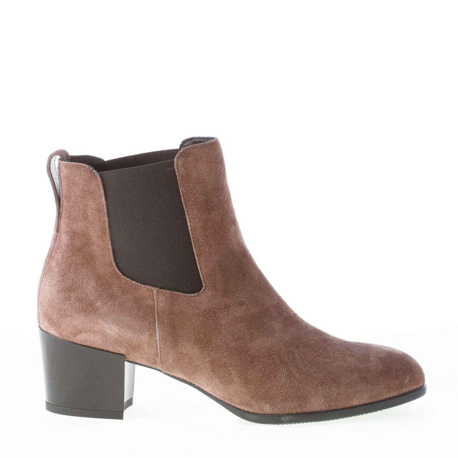 HOGAN damen schuhe schuhe Braun suede H272 almond toe elasticized ankle boot