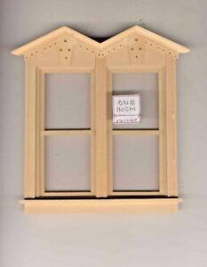 VICTORIAN SIDE BY SIDE NON-WORKING WINDOW dollhouse miniature  71046 1//12 scale