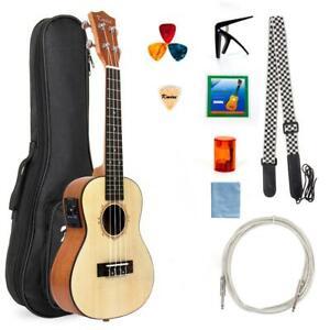 Kmise Ukulele Concert Electric Acousitc Solid Spruce Ukelele 23 Inch Uke With Pr Ebay