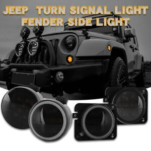 4x 12V Turn Signal Lights LED Fender Side Lights For Jeep Wrangler JK 2010 2015