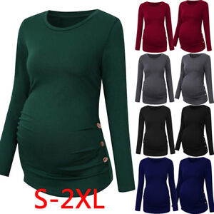 Image is loading Maternity-Shirt-Side-Button-Ruched-Maternity-Tops-Pregnancy - 87c7c4761ba6