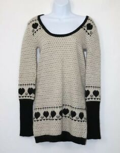 Kate-Moss-by-Topshop-ladies-Jumper-Sz-12-Dress-long-sleeve-Wool-Mix-Black-White