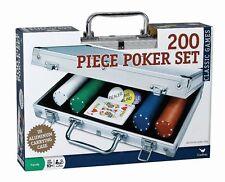 200 pc Poker Set In Aluminum Case for Cards, Texas Hold Em Poker, NEW