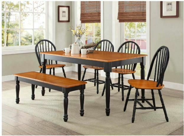 586 82 Ameillia 6pc Dark Oak Wood Leaf Dining Table Set Chairs Bench For Sale Online Ebay