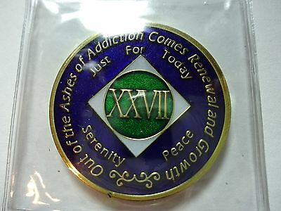 NA Blue Gold Coin 9 Year Tri-Plate Narcotics Anonymous Medallion Capsule/&Stand