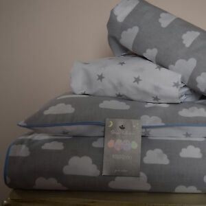 Image Is Loading 100 Cotton Cot Bed Duvet Cover Set Grey