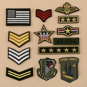 Lot-of-13-Pcs-Army-Military-Insignia-Rank-War-Applique-Sew-Iron-on-Badge-Patch