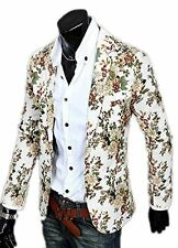 Men's Floral Print Casual Slim Fit Lapel Blazer Suit One Button Jacket Coat Tops