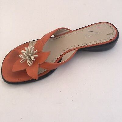 32f465789617 Women s Size 8.5 M A Giannetti Sandals Orange Leather Thong - Made In Italy