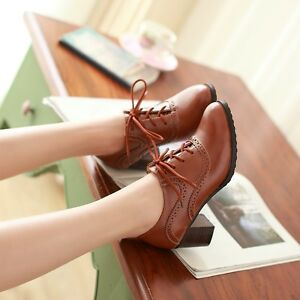 UK4-8-5-Wing-Tip-Womens-Oxfords-Mid-Chunky-Heel-Brogue-Retro-Lace-Up-Pumps-Shoes