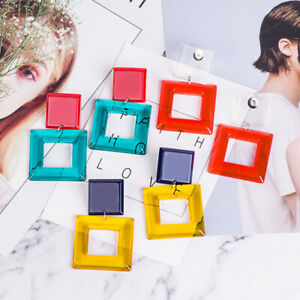 Women-Ear-square-Acrylic-Resin-Drop-Dangle-Stud-Earrings-Fashion-Jewelry-Gift