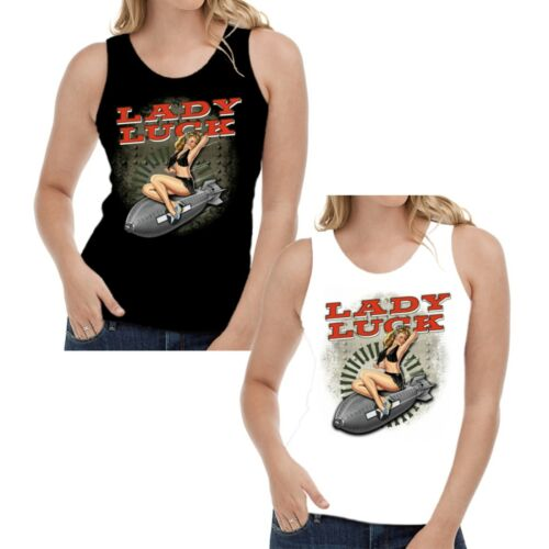 Velocitee Ladies Vest Lady Luck WW2 Nose Cone Pin Up 40/'s Rockabilly W15060