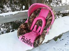 Personalized Camo Infant Car Seat Cover, Max5 fabric and Hot Pink Minky