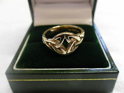 Cymru y Metel 9ct Yellow Welsh Gold Celtic Knot Ring size O