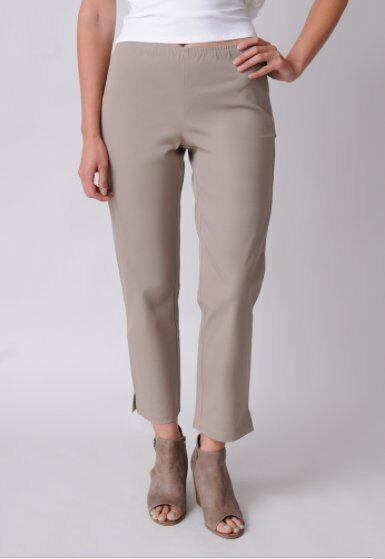 148 Eileen Fisher Stone Stretch Twill Organic Cotton Slim Ankle Pant NWT E480
