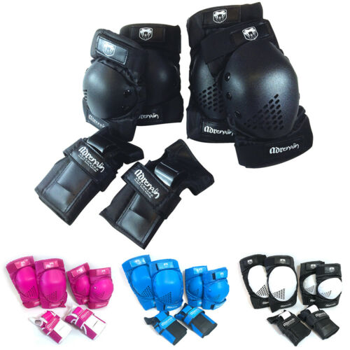 ADRENALIN SKATE PROTECTION ELBOW PADS, KNEE PADS, WRISTBRACE GUARDS 6 PIECE