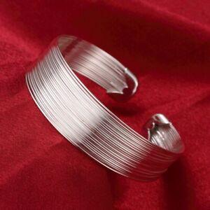 Fashion-Womens-925-Sterling-Silver-Cuff-Multi-Line-Bangle-Bracelet-B178