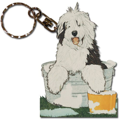 Old English Sheepdog Wooden Keychain