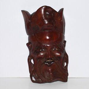 Masque-chinois-decoratif-en-bois-sculpte-art-de-Chine-Chinese-antique