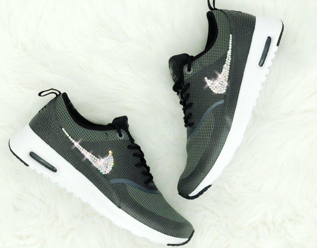 Crystal Nike Air Max Thea grau grey Gr. 40,5 Glitzer mit Swarovski Elements