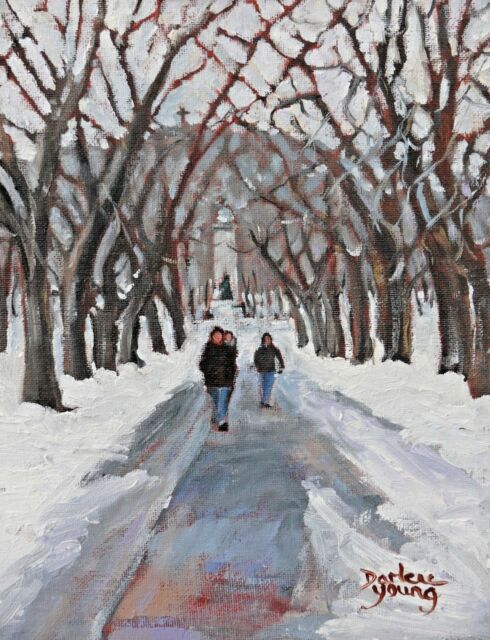 Montreal Winter,  Parc Jeanne Mance, 8x10, Oil, Darlene Young Canadian Artist