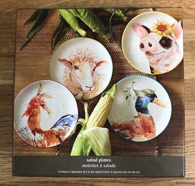 Pier 1 FARM ANIMALS Salad Plates s//of 4 Rooster Sheep Pig Duck FARMHOUSE NIB