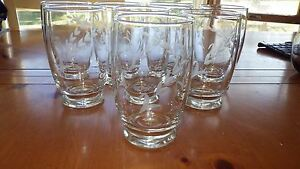 VIntage-WHeel-Cut-Floral-Tumblers-Footed-Drinking-glasses-8-12-ounce-elegant