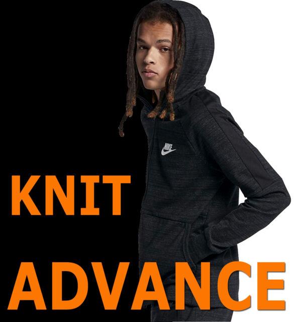 MEN'S NIKE ADVANCE 15 JACKET SPORTSWEAR KNIT HOODIE FULL ZIP BLACK NSW 943325