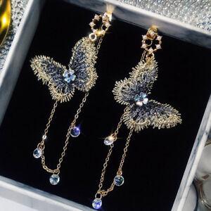 Lovely-Women-Embroidery-Butterfly-Crystal-Tassel-Dangle-Earrings-Wedding-Jewelry