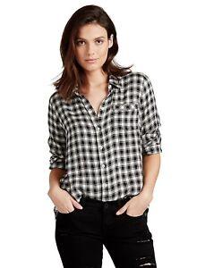 Lucky-Brand-Women-039-s-XXL-NWT-79-Boyfriend-Fit-B-amp-W-Plaid-Twill-Flannel-Shirt