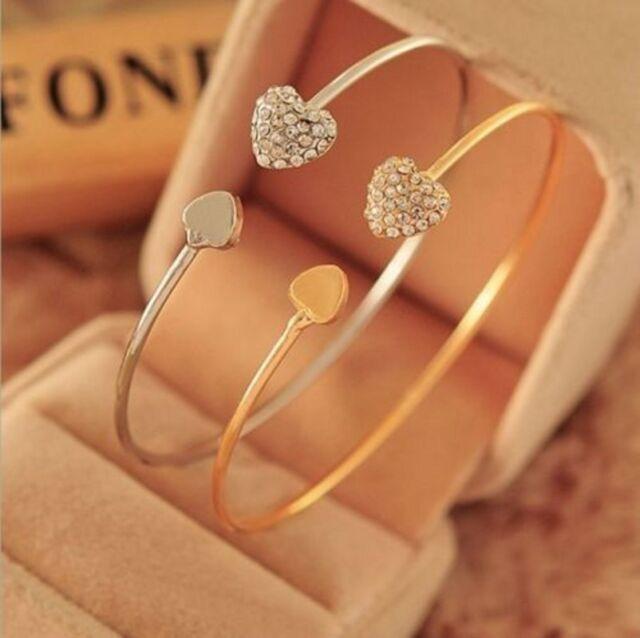 Women's Fashion Gold Rhinestone Love Heart Bangle Cuff Bracelet Jewelry Gift NEW
