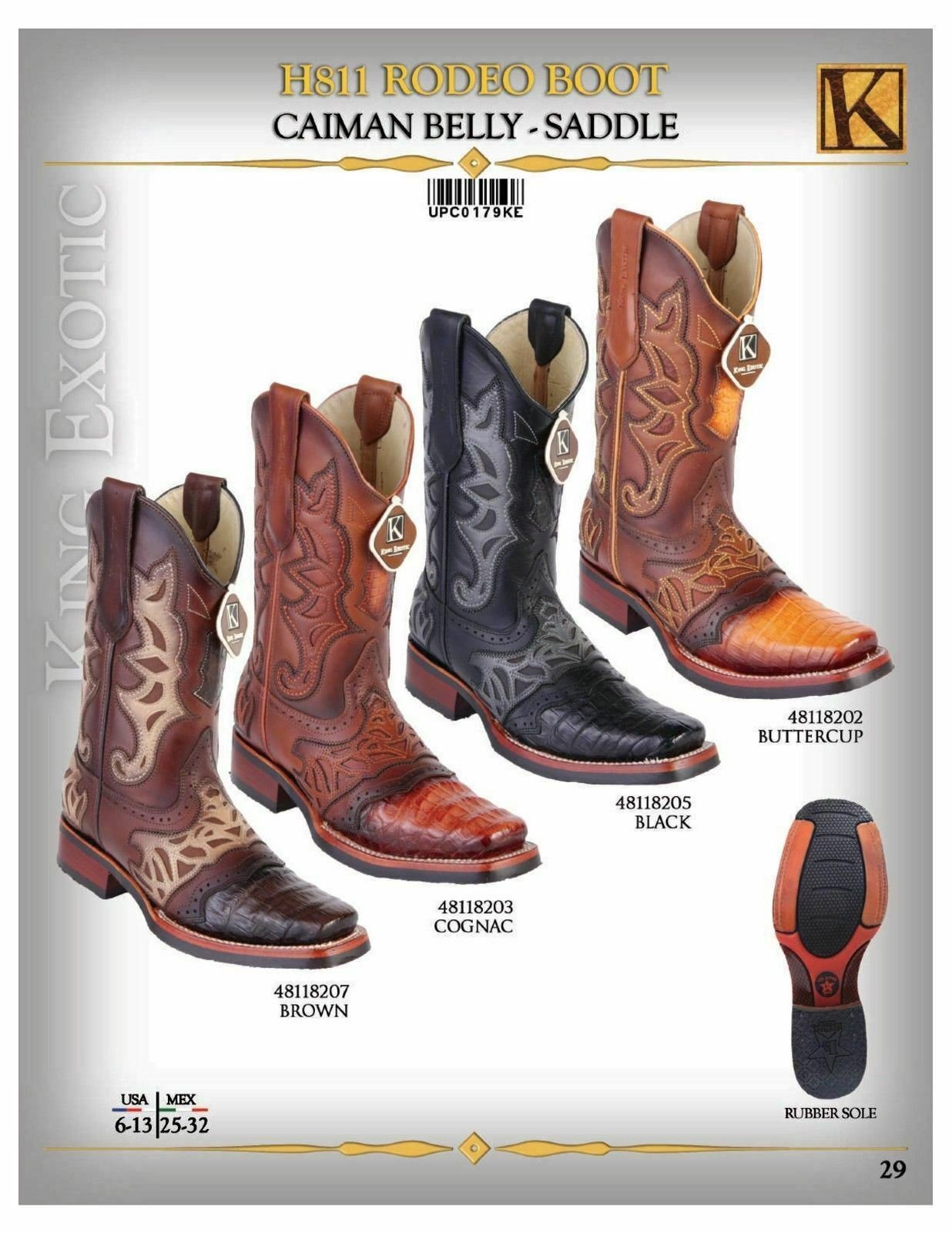 17d217c5e82 Rodeo H811 Men's Exotic King Genuine Leather Boots Cowboy Saddle ...