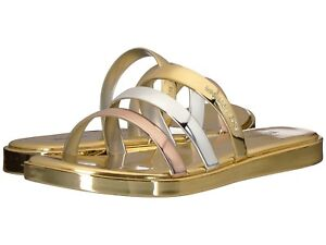 Michael-Kors-KEIKO-Metallic-SLIDE-SANDALS-Shoes-GOLD-SILVER-Size-8-New-In-Box