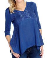 - One World Sweater Knit 3/4 Sleeved Embellished V-neck Top - Sz M Or 1x
