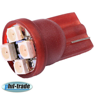 SMD LED T10 w5w 12V rot hell Innenraum Tacho Beleuchtung Umbau Lese Lampe 4 SMD