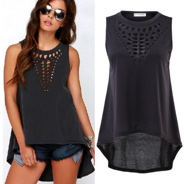 Women Sexy Tank Tops Casual Sleeveless Irregular Tops Blouse T-Shirt Plus Size