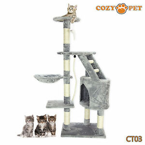 Cozy Pet Deluxe Cat Tree Sisal Scratching Post Quality Cat Trees - CT03-Grey 887074004987