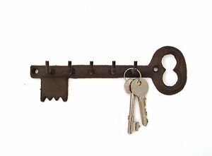 Key Shaped Key Holder Rack Five 5 Hooks Vintage Black