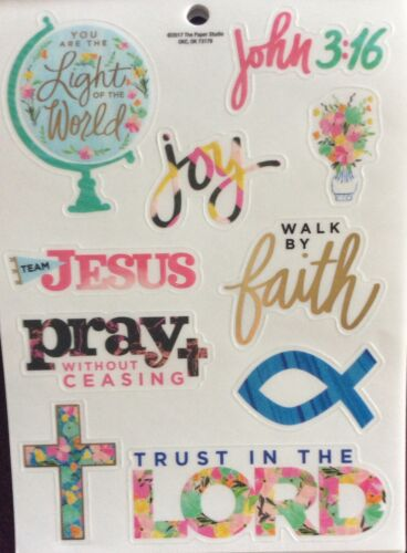 Religious Faith Pray John 3:16 Joy Light Phrase Foiled Scrapbook Stickers
