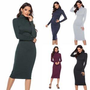 Pencil-Knit-Turtleneck-Slim-Sleeve-Bodycon-Dress-Women-Sweater-Long-Dresses