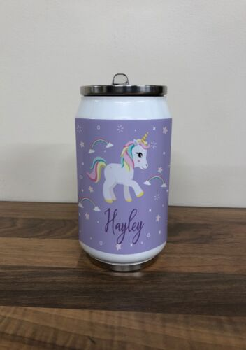 Personalised Children/'s Purple Unicorn Stainless Steel 280ml Drinks Can Fun Gift