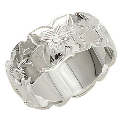8 mm solid sterling silver ring Plumeria Lei Ring Hawaiian Jewelry SR2171