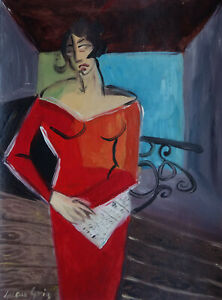 Fine-art-Spanish-French-and-Cubism-original-gouache-portrait-painting-Signed