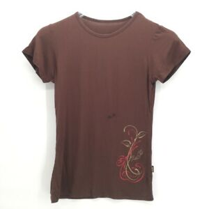 Kuhl-Womens-Graphic-T-Shirt-Brown-Scoop-Neck-Stretch-Embroidered-Cotton-Blend-S