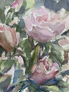Prof Dr a watchful 1935-97 Watercolour Pink Roses Flowers Still Life