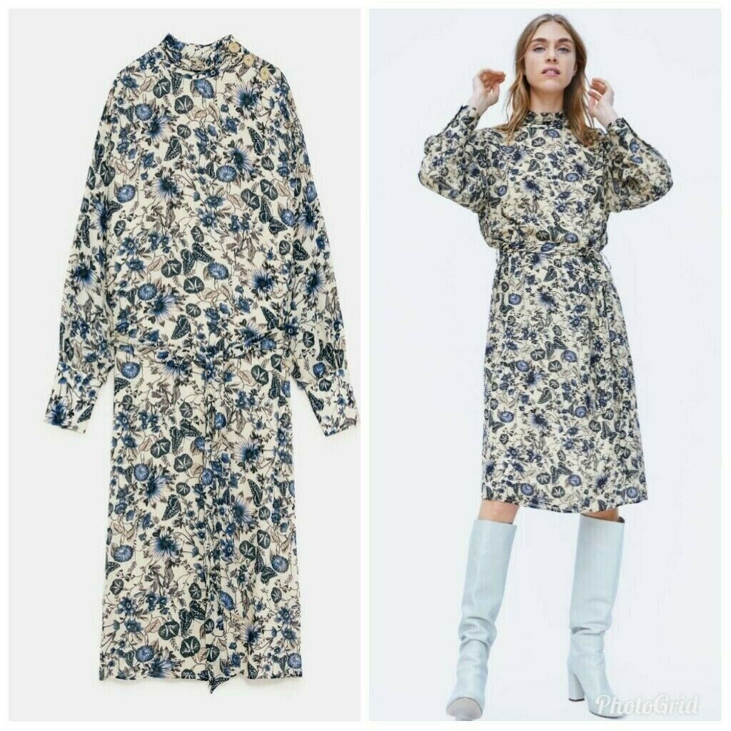 ZARA BRAND NEW WITH TAGS FLORAL PRINT DRESS SIZE M RRP 39.99 LIGHT FABRIC
